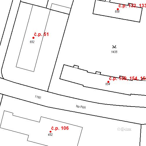 Katastrální mapa Stavební objekt Žacléř 154, 155, 158, 159, Žacléř