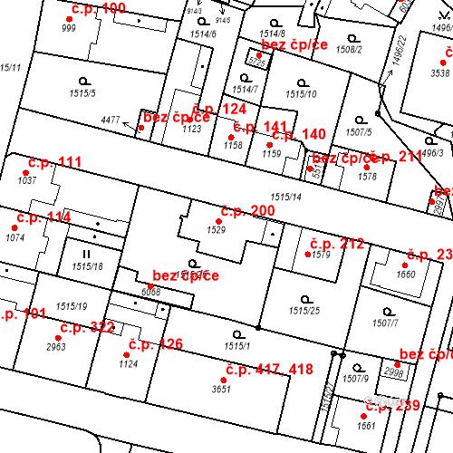 Katastrální mapa Stavební objekt Kryblice 200, Trutnov
