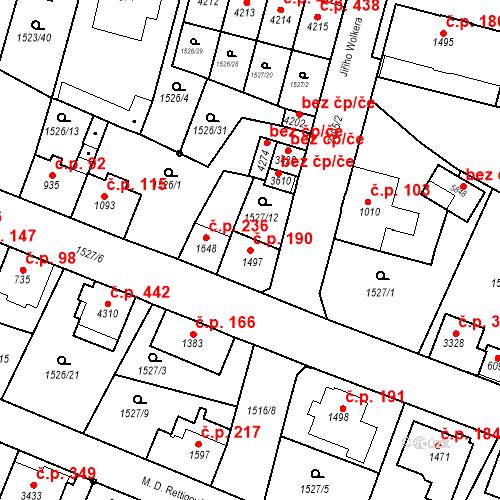 Katastrální mapa Stavební objekt Kryblice 190, Trutnov