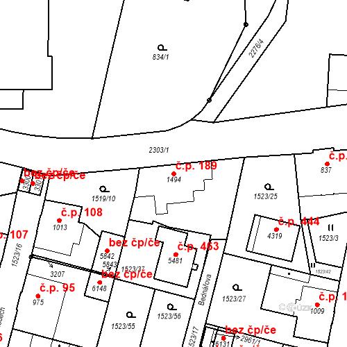 Katastrální mapa Stavební objekt Kryblice 189, Trutnov