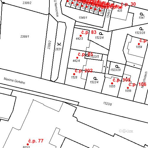 Katastrální mapa Stavební objekt Kryblice 202, Trutnov