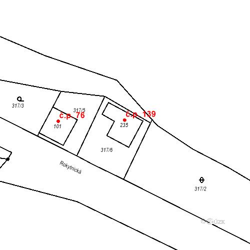 Katastrální mapa Stavební objekt Bojiště 139, Trutnov