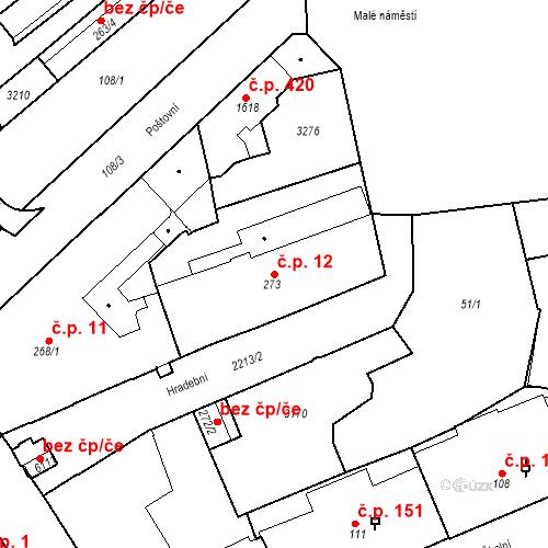 Katastrální mapa Stavební objekt Střední Předměstí 12, Trutnov