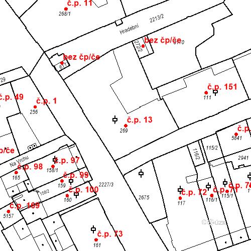 Katastrální mapa Stavební objekt Střední Předměstí 13, Trutnov