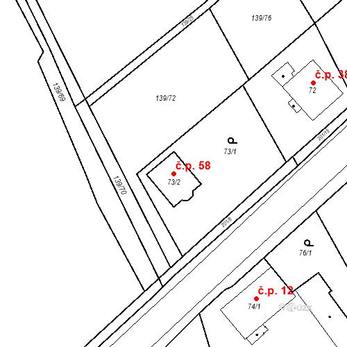 Katastrální mapa Stavební objekt Čáslavky 58, Dolany