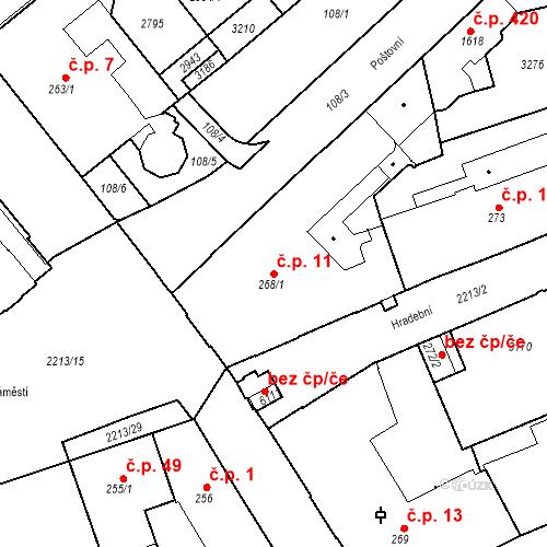 Katastrální mapa Stavební objekt Střední Předměstí 11, Trutnov