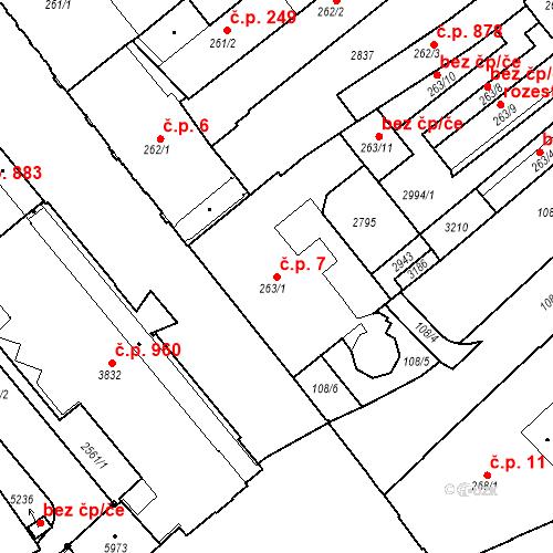 Katastrální mapa Stavební objekt Střední Předměstí 7, Trutnov