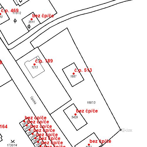 Katastrální mapa Stavební objekt Horní Předměstí 513, Trutnov