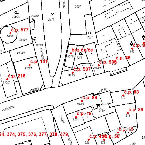 Katastrální mapa Stavební objekt Horní Předměstí 507, Trutnov
