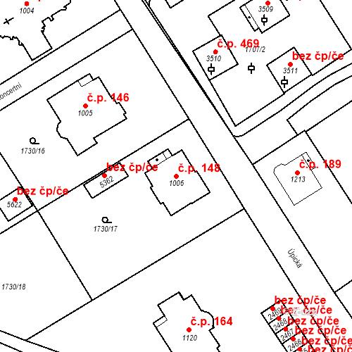 Katastrální mapa Stavební objekt Horní Předměstí 148, Trutnov