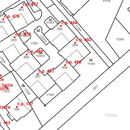 Katastrální mapa Stavební objekt Horní Předměstí 482, Trutnov