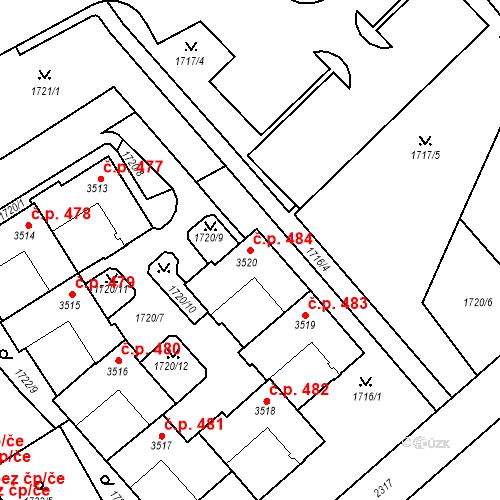 Katastrální mapa Stavební objekt Horní Předměstí 484, Trutnov