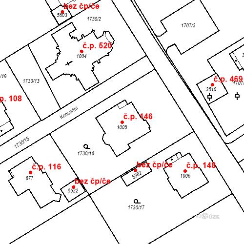 Katastrální mapa Stavební objekt Horní Předměstí 146, Trutnov
