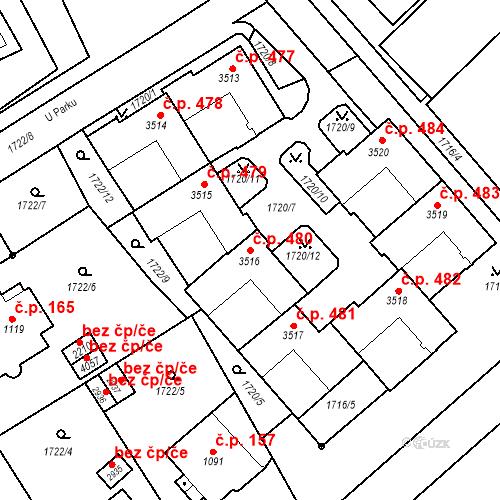 Katastrální mapa Stavební objekt Horní Předměstí 480, Trutnov