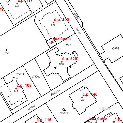 Katastrální mapa Stavební objekt Horní Předměstí 520, Trutnov