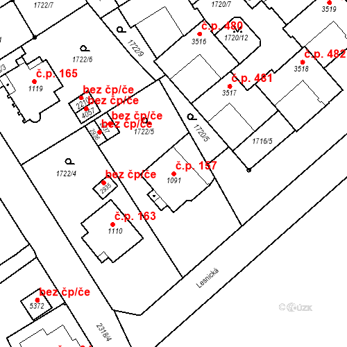 Katastrální mapa Stavební objekt Horní Předměstí 157, Trutnov
