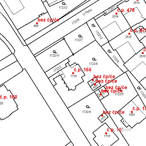 Katastrální mapa Stavební objekt Horní Předměstí 165, Trutnov