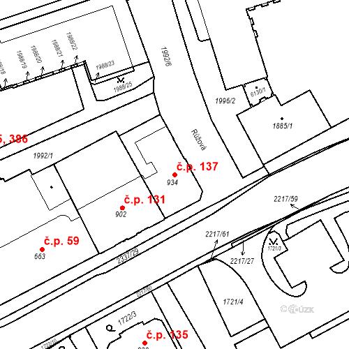 Katastrální mapa Stavební objekt Horní Předměstí 137, Trutnov