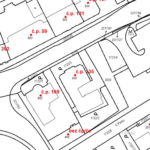 Katastrální mapa Stavební objekt Horní Předměstí 135, Trutnov