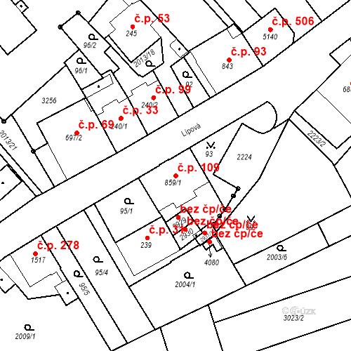 Katastrální mapa Stavební objekt Horní Předměstí 109, Trutnov