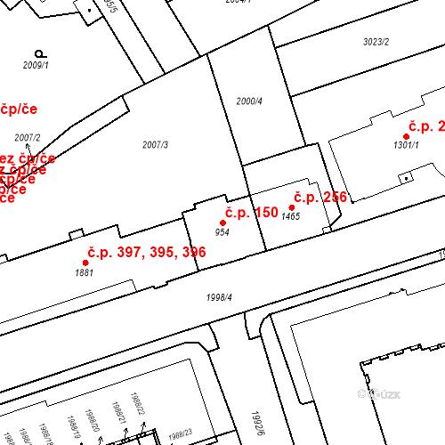 Katastrální mapa Stavební objekt Horní Předměstí 150, Trutnov