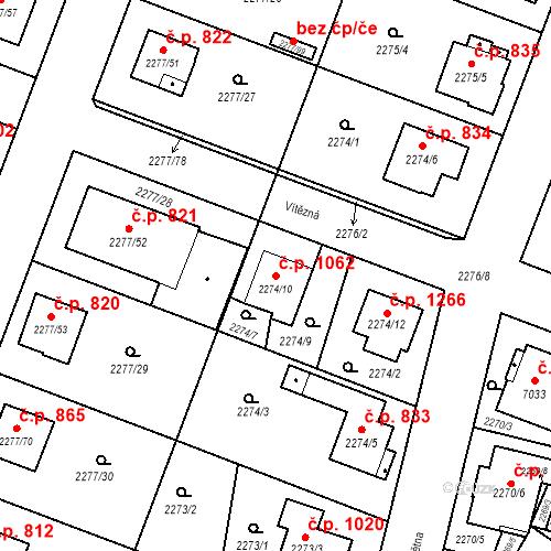 Katastrální mapa Stavební objekt Holice 1062, Holice