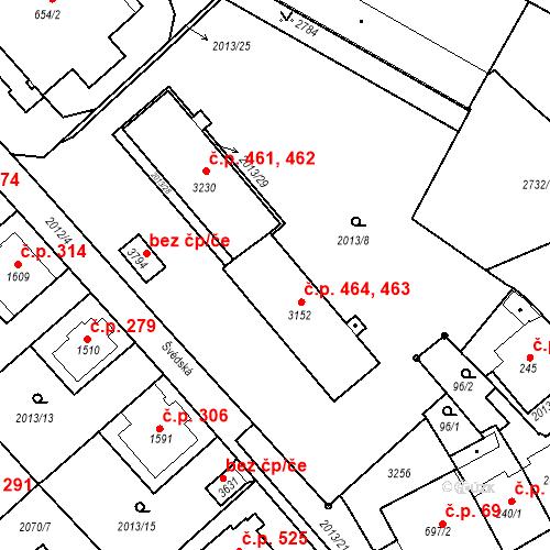 Katastrální mapa Stavební objekt Horní Předměstí 463, 464, Trutnov