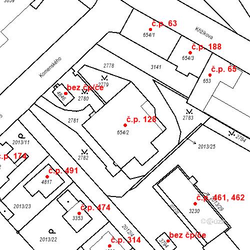 Katastrální mapa Stavební objekt Horní Předměstí 128, Trutnov