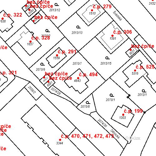 Katastrální mapa Stavební objekt Horní Předměstí 494, Trutnov