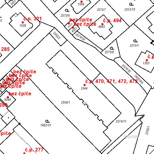 Katastrální mapa Stavební objekt Horní Předměstí 470, 471, 472, 473, Trutnov