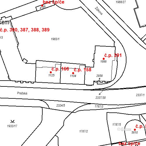 Katastrální mapa Stavební objekt Horní Předměstí 158, Trutnov