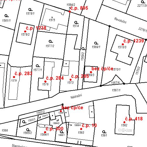 Katastrální mapa Stavební objekt Holice 285, Holice