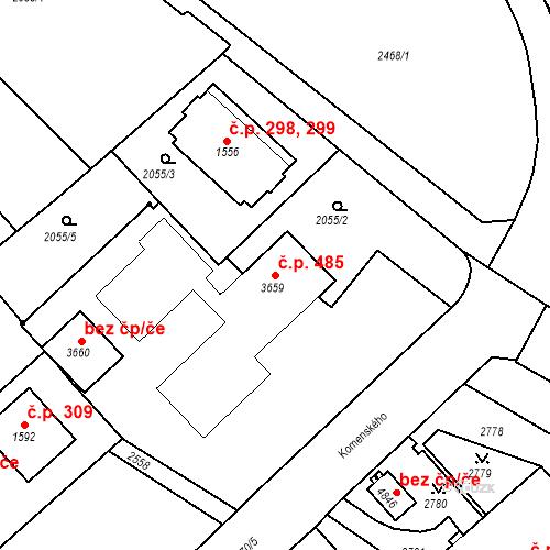 Katastrální mapa Stavební objekt Horní Předměstí 485, Trutnov