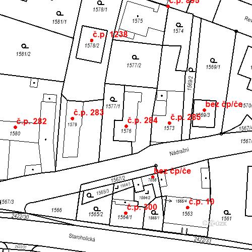 Katastrální mapa Stavební objekt Holice 284, Holice