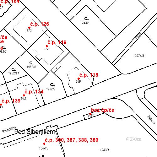 Katastrální mapa Stavební objekt Horní Předměstí 118, Trutnov