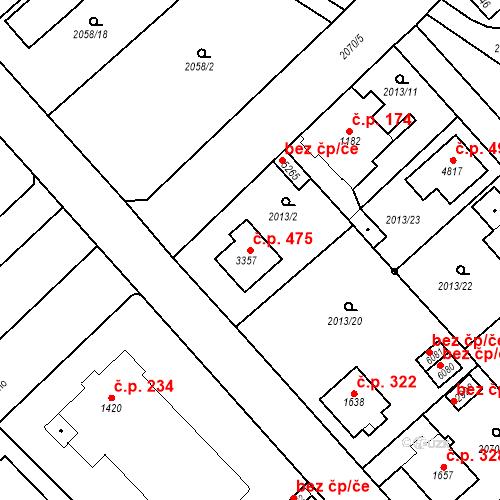 Katastrální mapa Stavební objekt Horní Předměstí 475, Trutnov