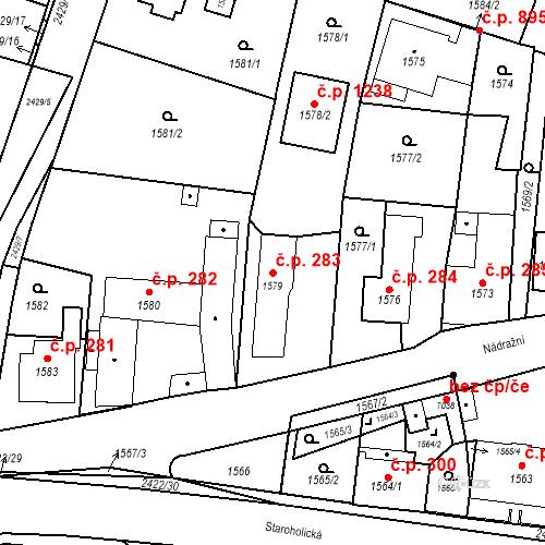 Katastrální mapa Stavební objekt Holice 283, Holice