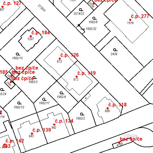 Katastrální mapa Stavební objekt Horní Předměstí 119, Trutnov