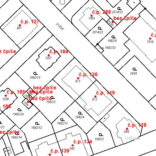 Katastrální mapa Stavební objekt Horní Předměstí 126, Trutnov