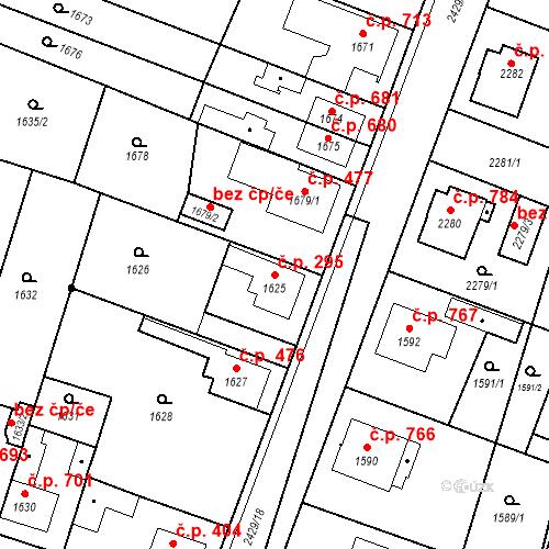 Katastrální mapa Stavební objekt Holice 295, Holice