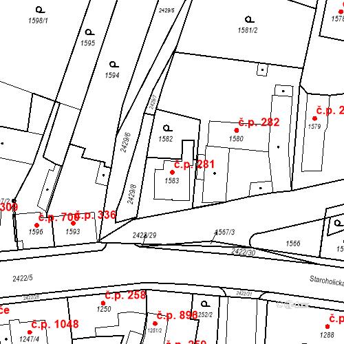 Katastrální mapa Stavební objekt Holice 281, Holice