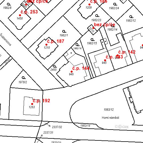 Katastrální mapa Stavební objekt Horní Předměstí 144, Trutnov