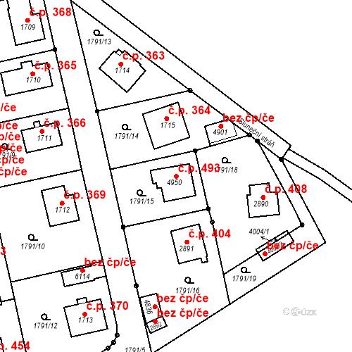 Katastrální mapa Stavební objekt Horní Předměstí 493, Trutnov