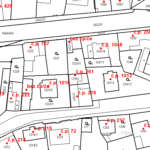 Katastrální mapa Stavební objekt Holice 261, Holice