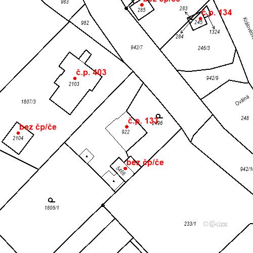Katastrální mapa Stavební objekt Horní Předměstí 133, Trutnov