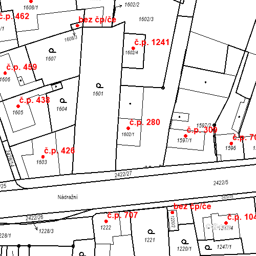 Katastrální mapa Stavební objekt Holice 280, Holice