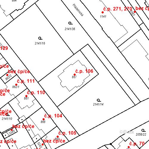 Katastrální mapa Stavební objekt Horní Předměstí 106, Trutnov