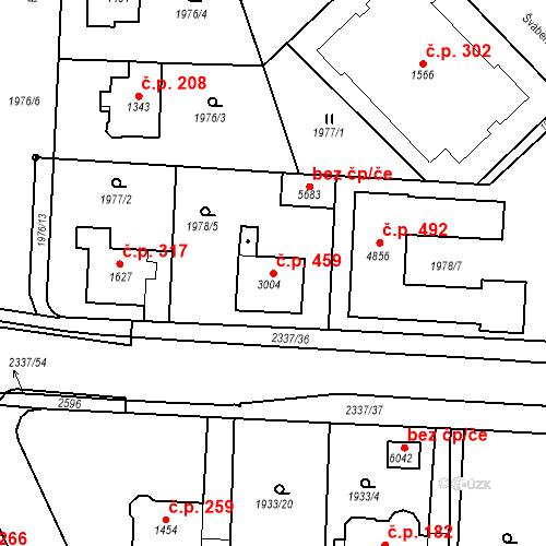 Katastrální mapa Stavební objekt Horní Předměstí 459, Trutnov