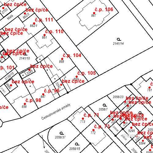 Katastrální mapa Stavební objekt Horní Předměstí 105, Trutnov