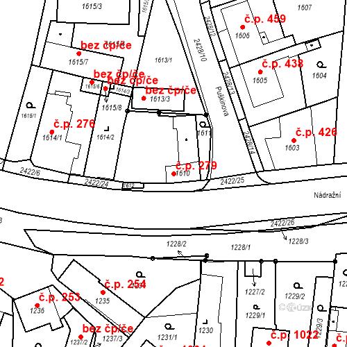 Katastrální mapa Stavební objekt Holice 279, Holice
